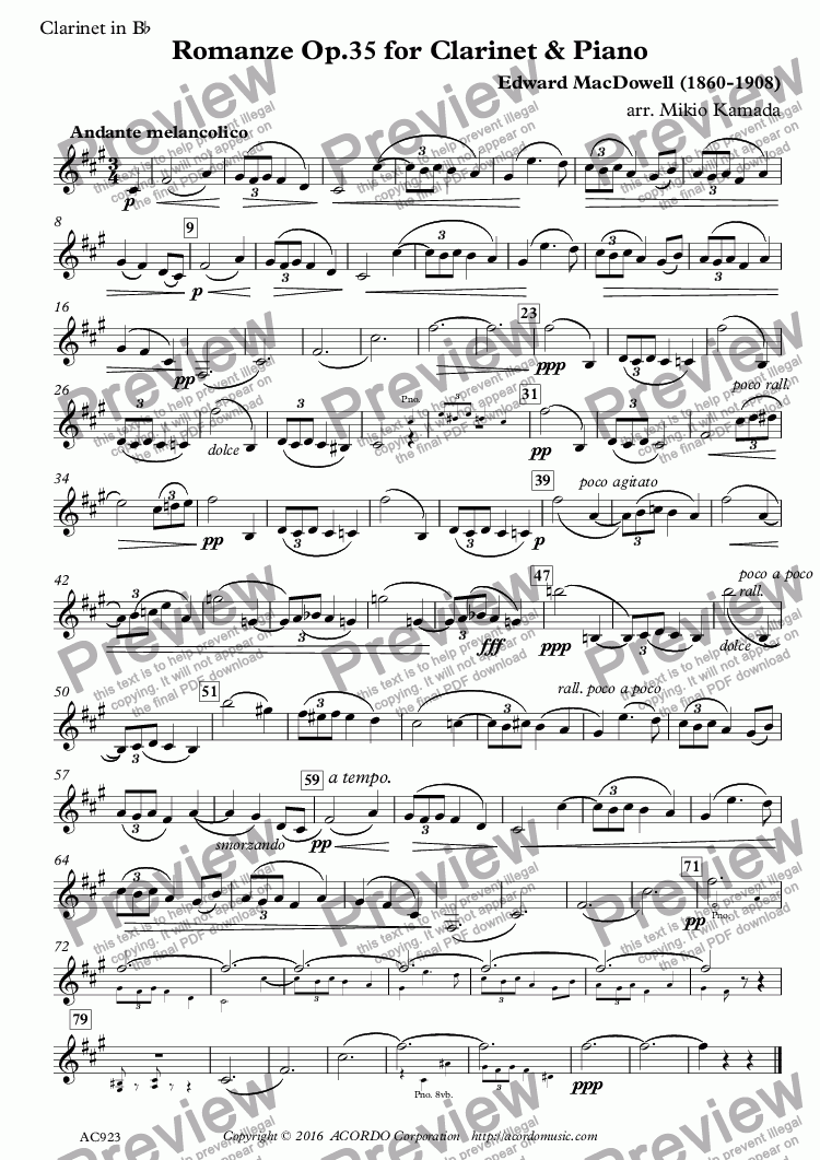 page one of the Clarinet in Bb part from Romanze Op.35 for Clarinet & Piano