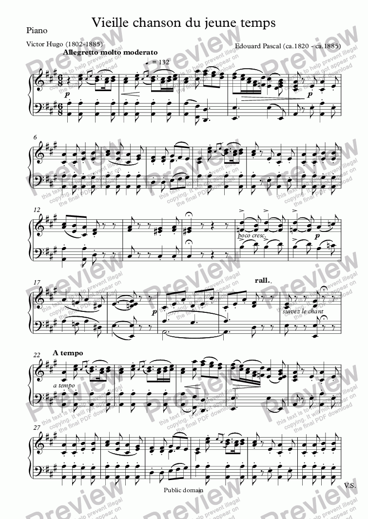 page one of the Piano part from Vieille chanson du jeune temps (Edouard Pascal / Victor Hugo)