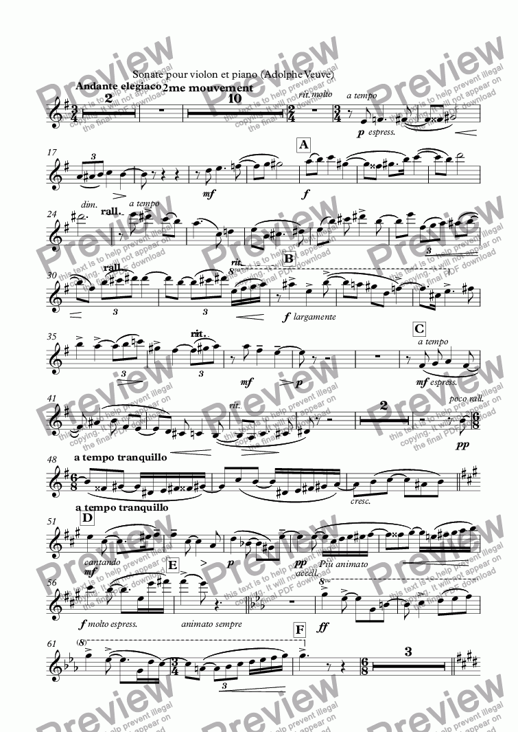 page one of the Violons part from Sonate pour violon et piano Op.5