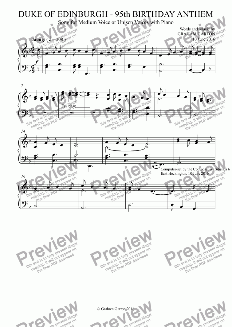 page one of the Piano part from ANTHEM for the DUKE OF EDINBURGH'S - 95th BIRTHDAY - Medium Voice or Unison Voices with Piano