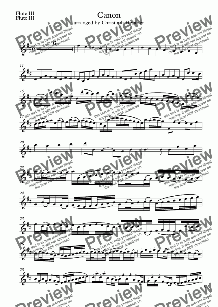 page one of the Flute III part from Canon