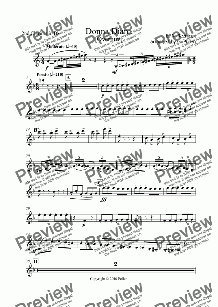 page one of the 2nd Clarinet in Bb part from Donna Diana Overture (CB)