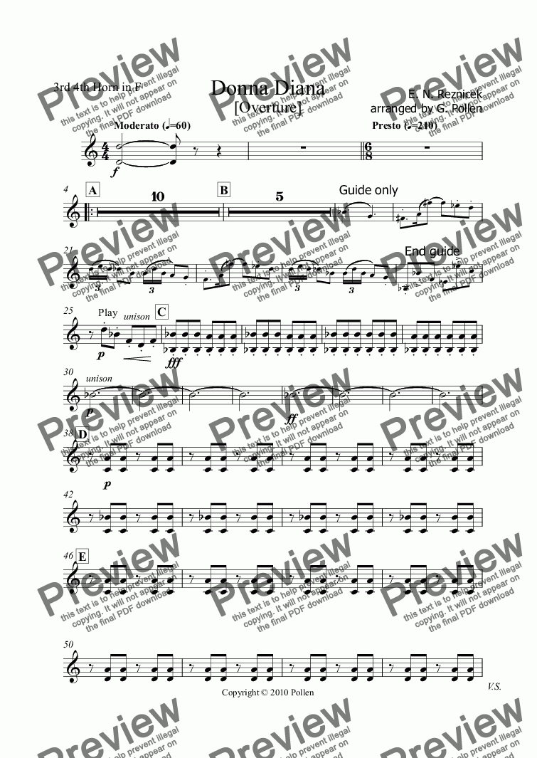 page one of the 3rd 4th Horn in F part from Donna Diana Overture (CB)
