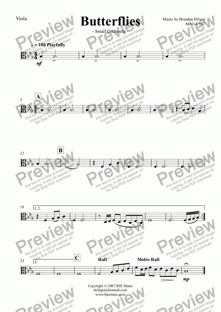 page one of the Viola part from Butterflies - Small Orchestra (Revised 2016)