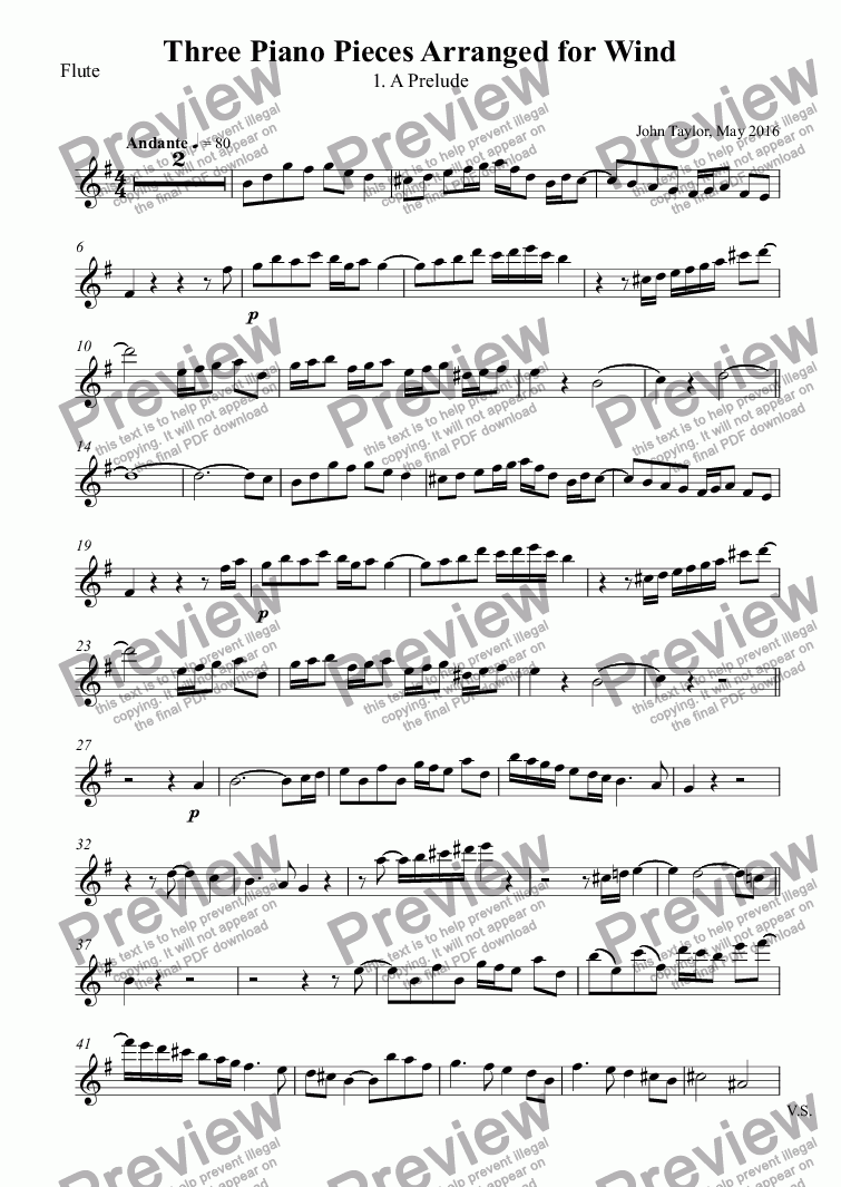 page one of the Flute part from Three Piano Pieces Arranged for Wind