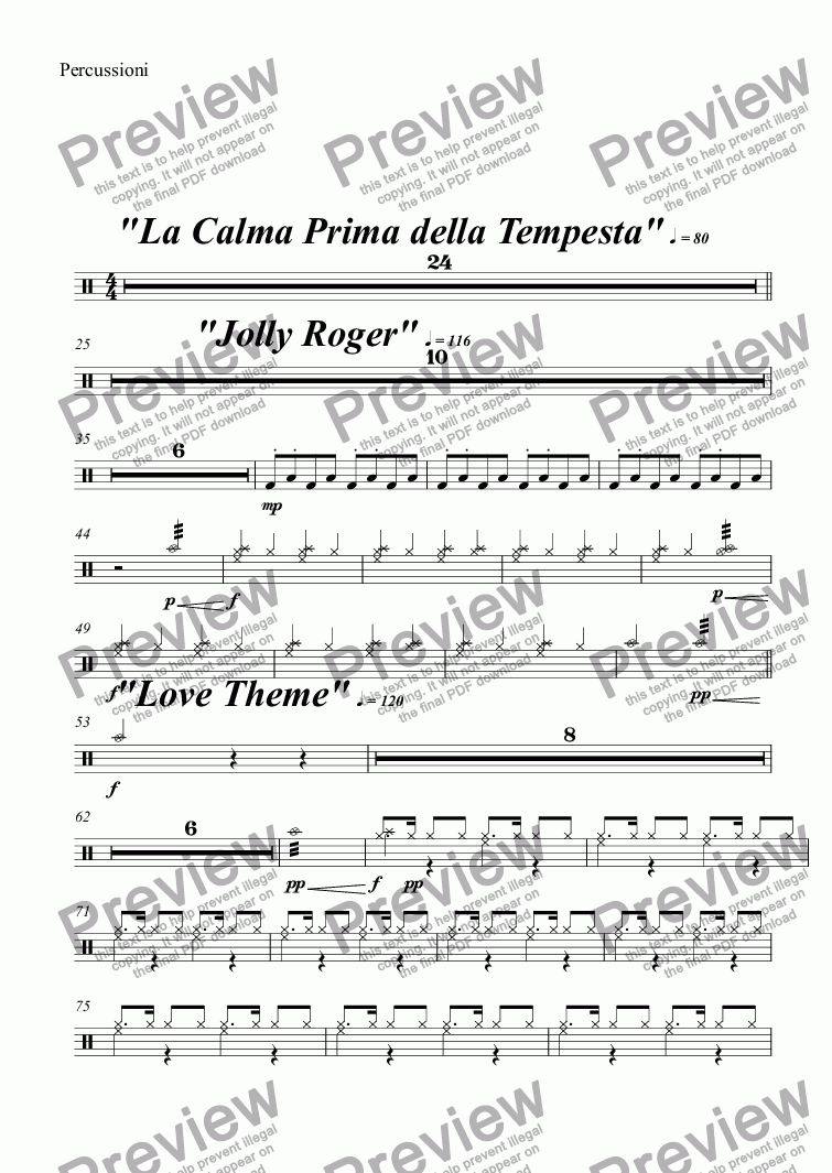 page one of the Percussioni part from PIRATE SUITE