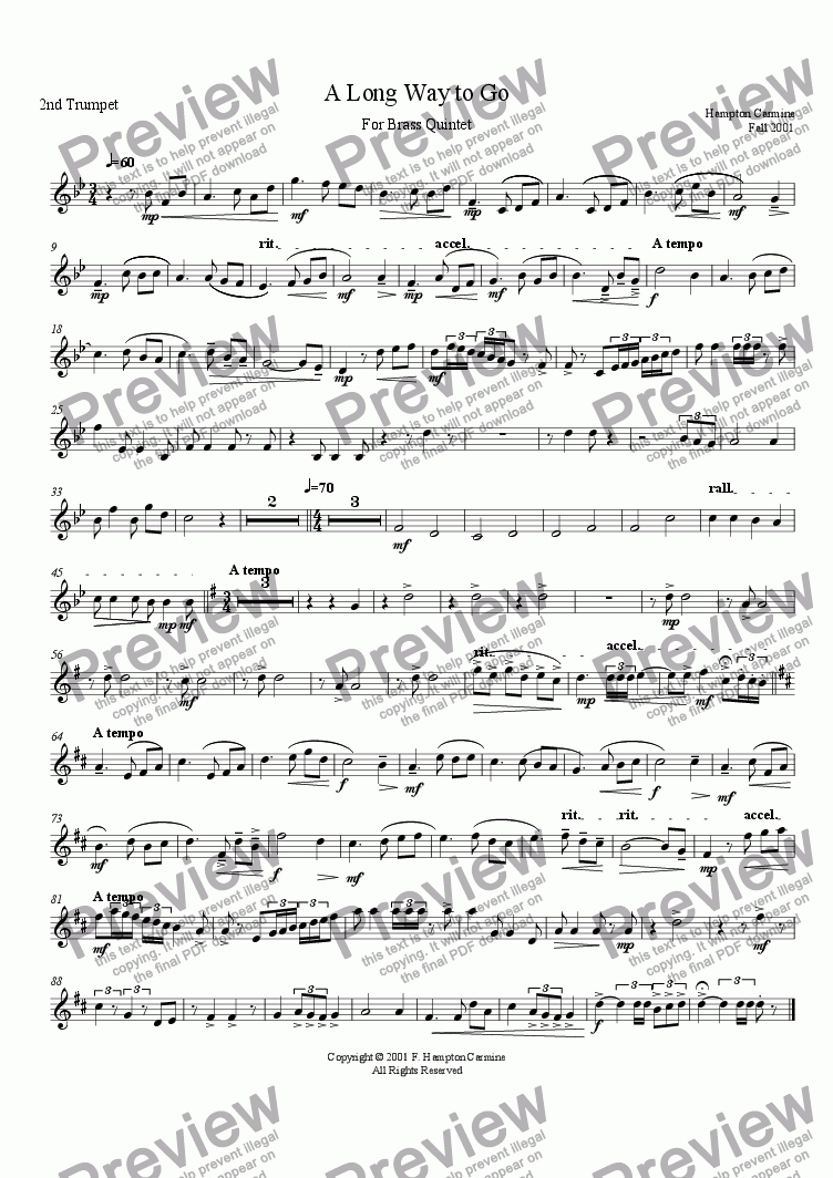 page one of the 2nd Trumpet part from A Long Way To Go - Quintet