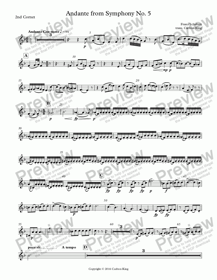page one of the 2nd Cornet part from Andante from Symphony No. 5