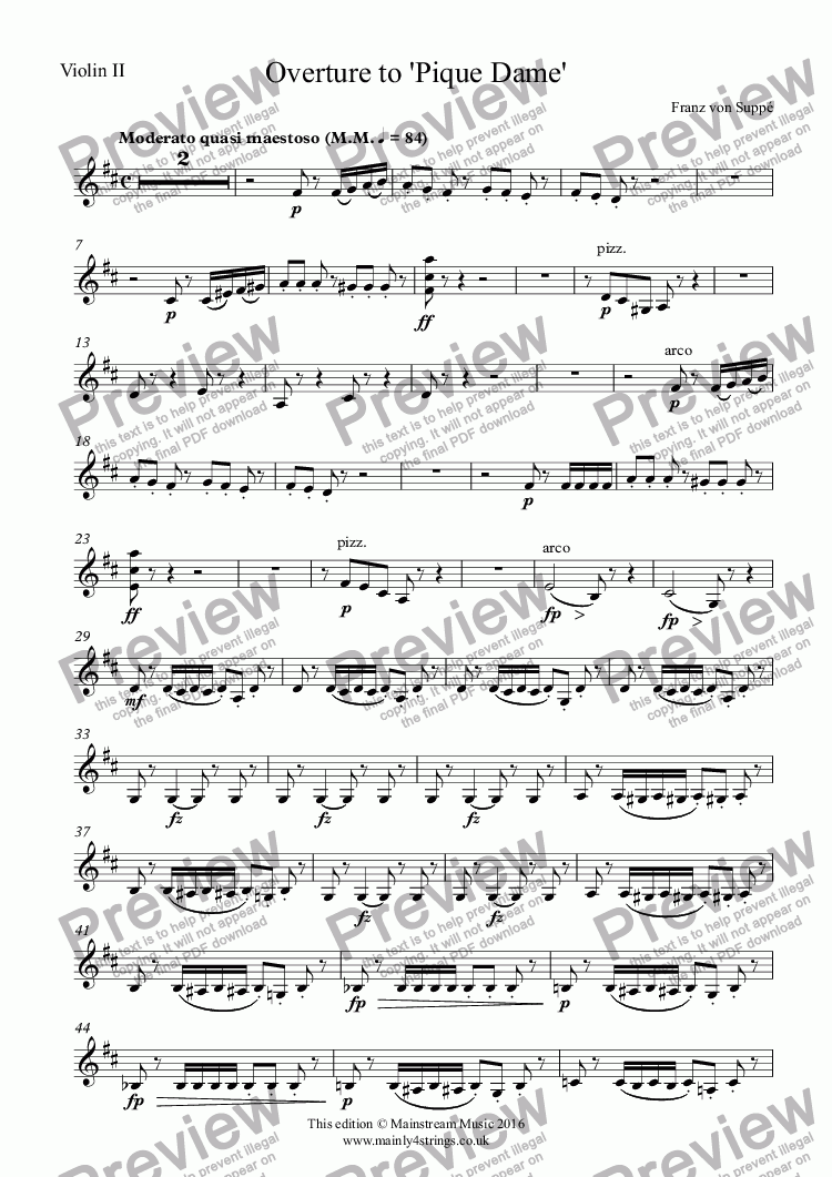 page one of the Violin II part from Overture to 'Pique Dame'