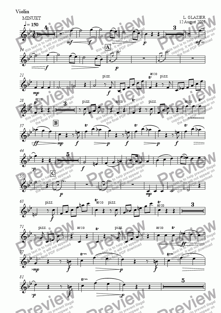 page one of the Violin part from Minuet and Trio for Small Ensemble