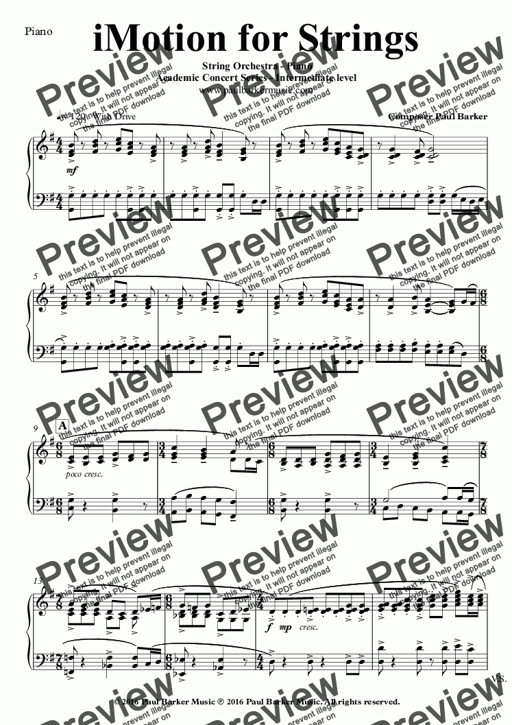page one of the Piano part from iMotion for Strings