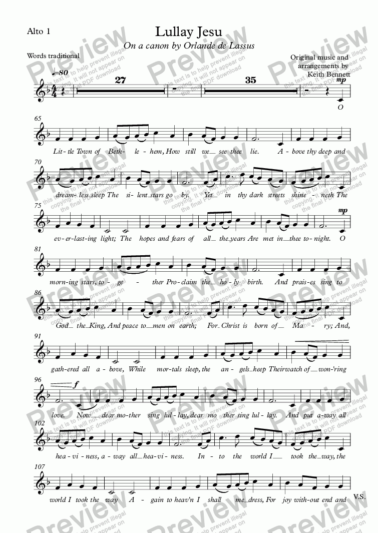 page one of the Alto 1 part from Lullay Jesu