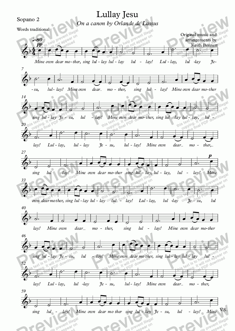 page one of the Sopano 2 part from Lullay Jesu