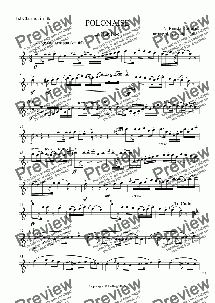 page one of the 1st Clarinet in Bb part from Polonaise [La Nuit Noel] (CB)