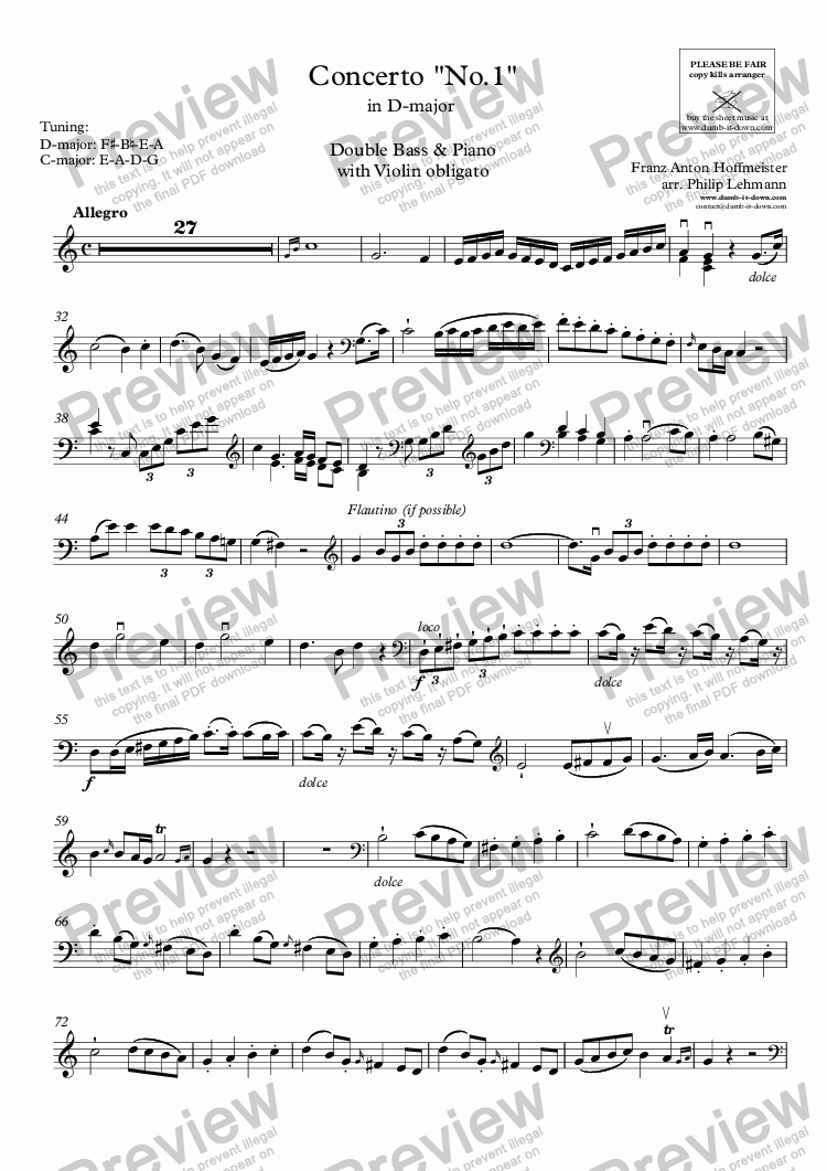 page one of the Double Bass part from Hoffmeister, F.A. - Concerto No. 1 in D-maj. - for Double Bass (tuning: F#-B-E-A), Violin obl. (orig.) & Piano (simplified)