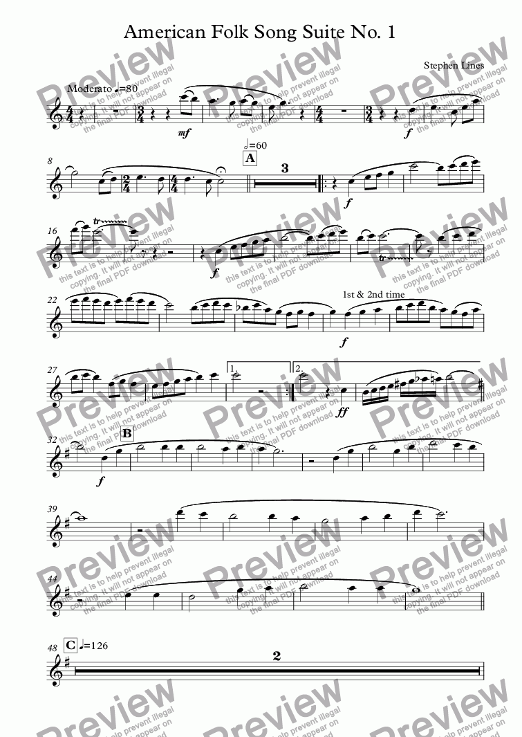 page one of the Flute part from Orchestra: American Folk Song Suite No. 1