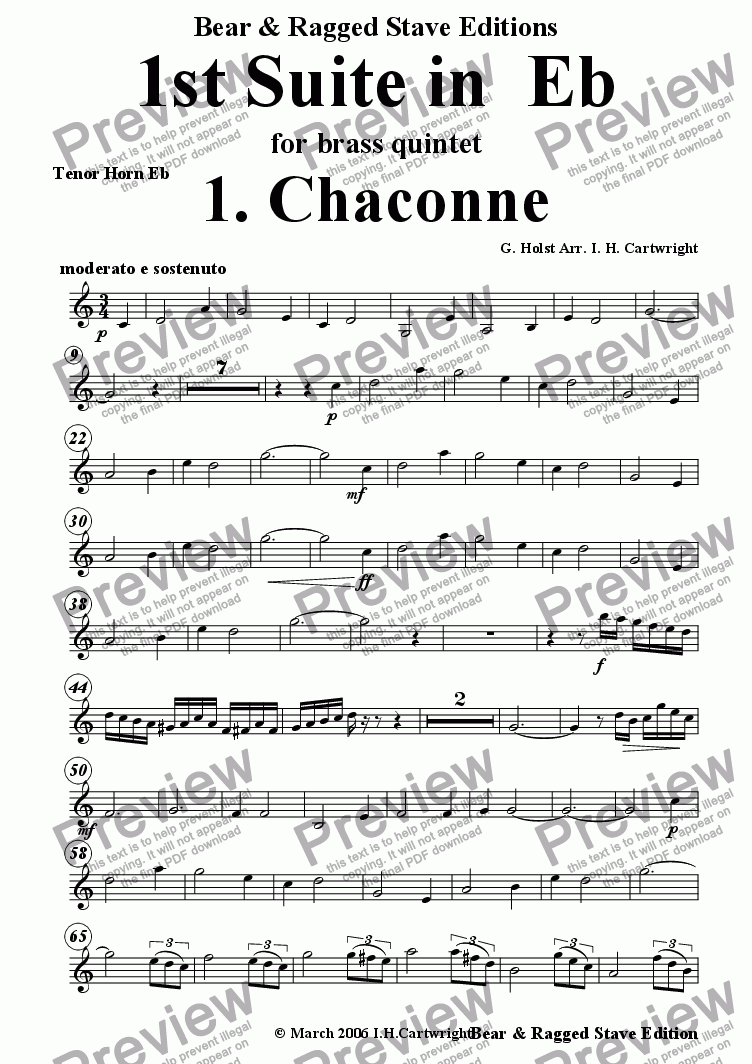 page one of the tenor horn in Eb part from 1st Suite in Eb 1. Chaconne for brass quintet