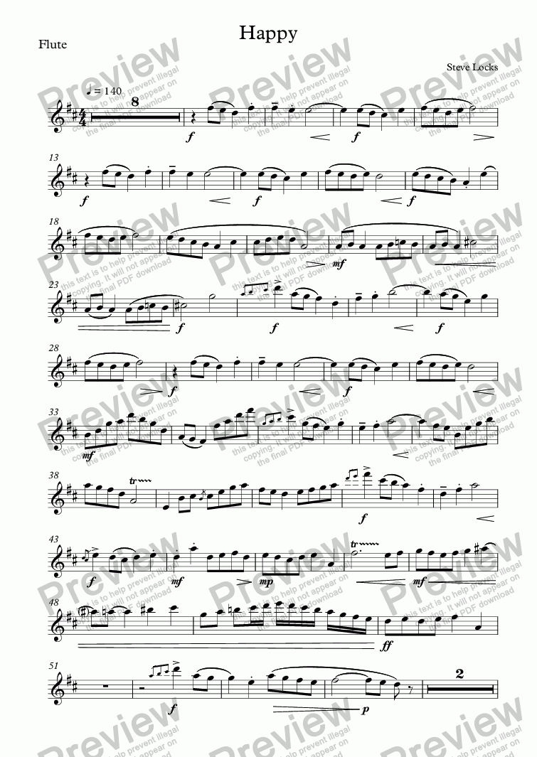 page one of the Flute part from Happy