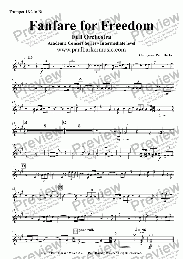 page one of the Trumpet 1&2 in B^b part from Fanfare for Freedom (Full Orchestral Version)