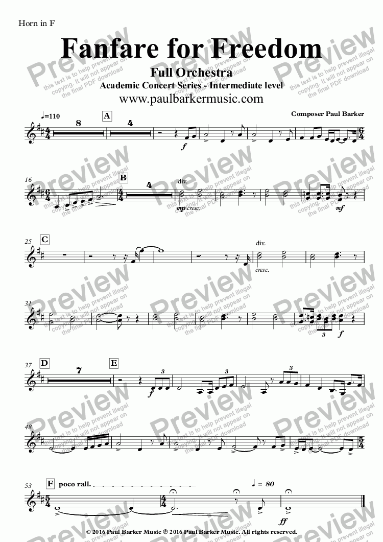 page one of the Horn in F part from Fanfare for Freedom (Full Orchestral Version)