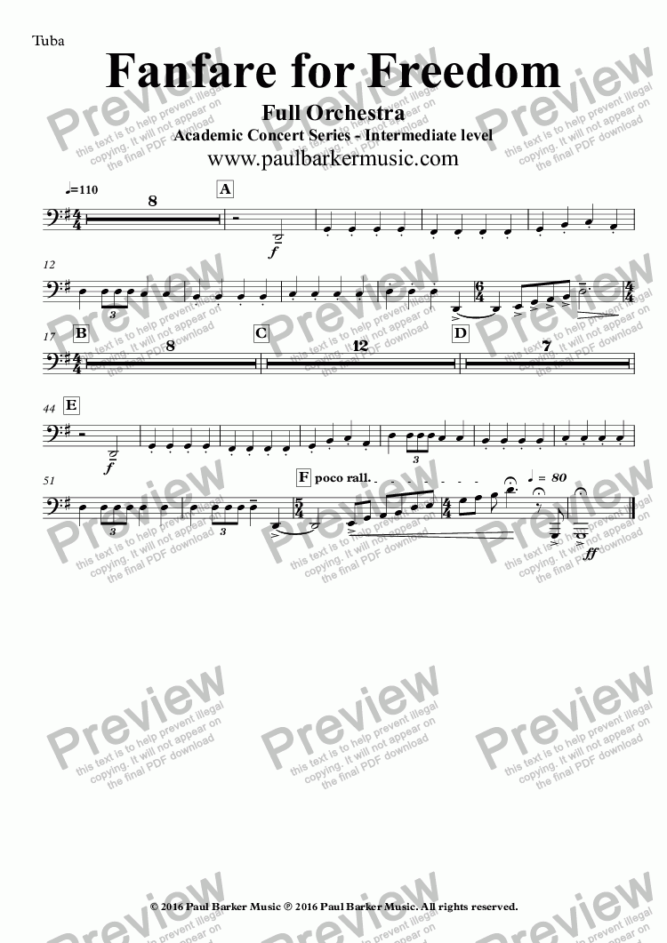 page one of the Tuba part from Fanfare for Freedom (Full Orchestral Version)