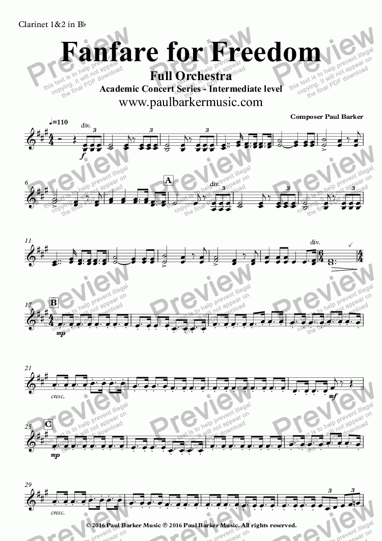 page one of the Clarinet 1&2 in B^b part from Fanfare for Freedom (Full Orchestral Version)