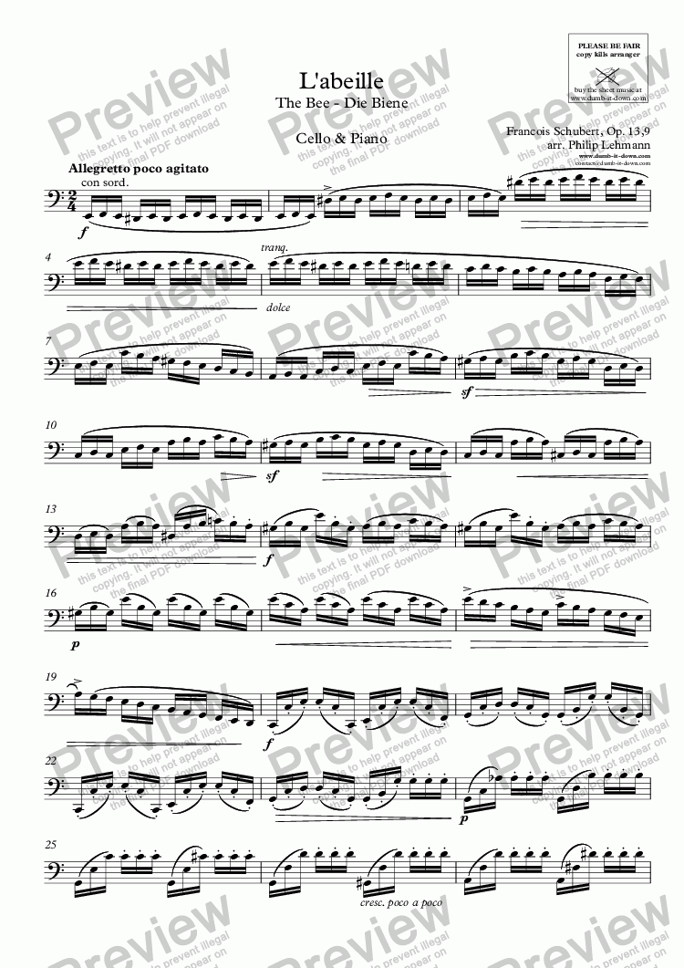 page one of the Cello part from Schubert, F. - L'abeille / The Bee - Op. 13/9 - for Cello (orig.) & Piano (simplified)
