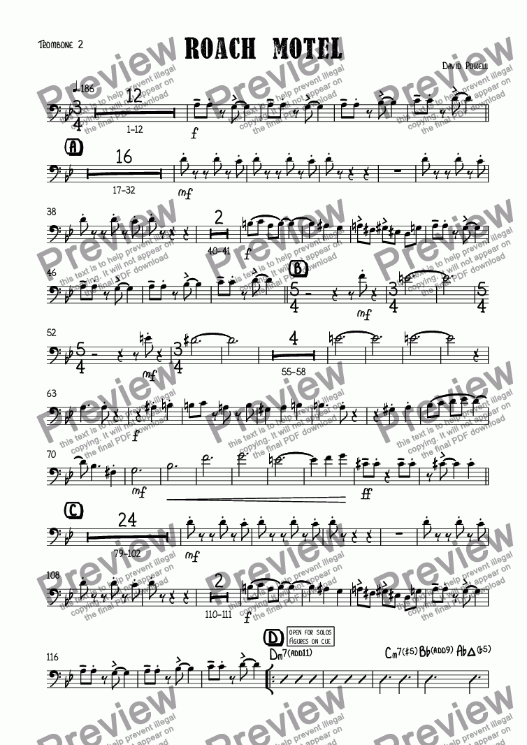 page one of the Trombone 2 part from Roach motel