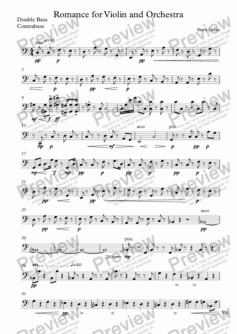 page one of the Double Bass, Contrabass part from Romance for Violin and Orchestra