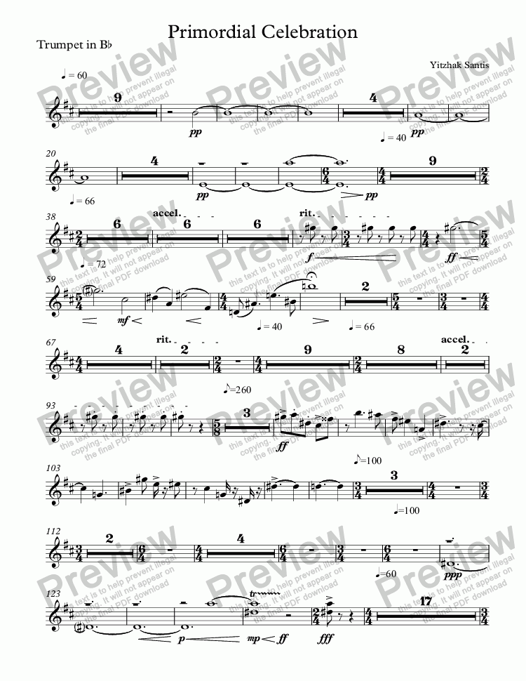 page one of the Trumpet in B^b part from Primordial Celebration (symphony orchestra)