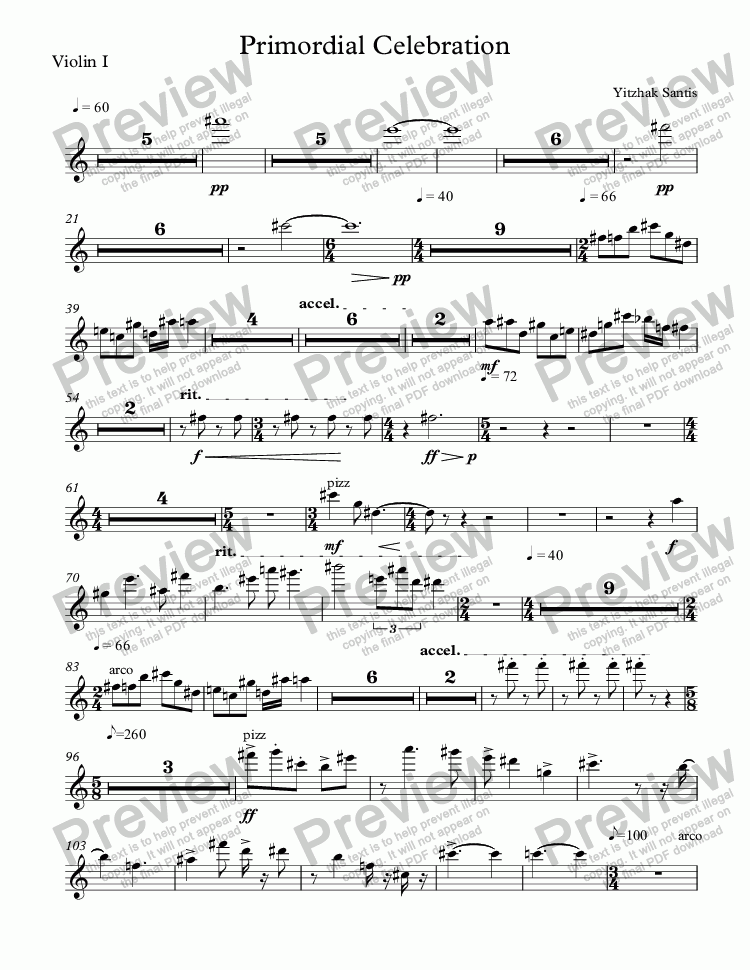 page one of the Violin I part from Primordial Celebration (symphony orchestra)