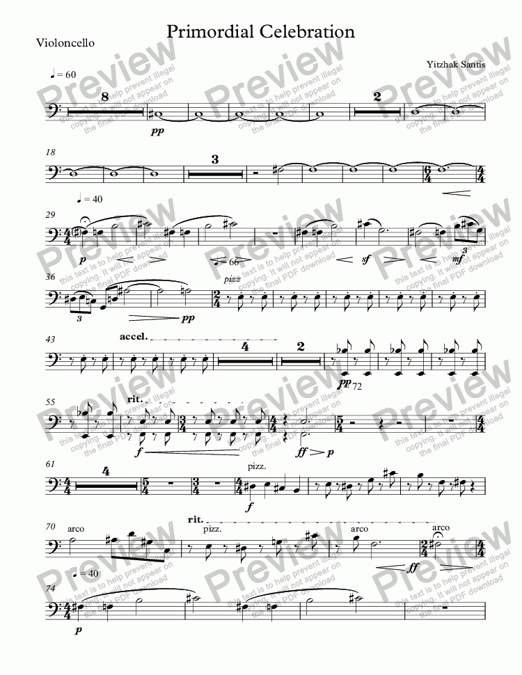 page one of the Violoncello part from Primordial Celebration (symphony orchestra)