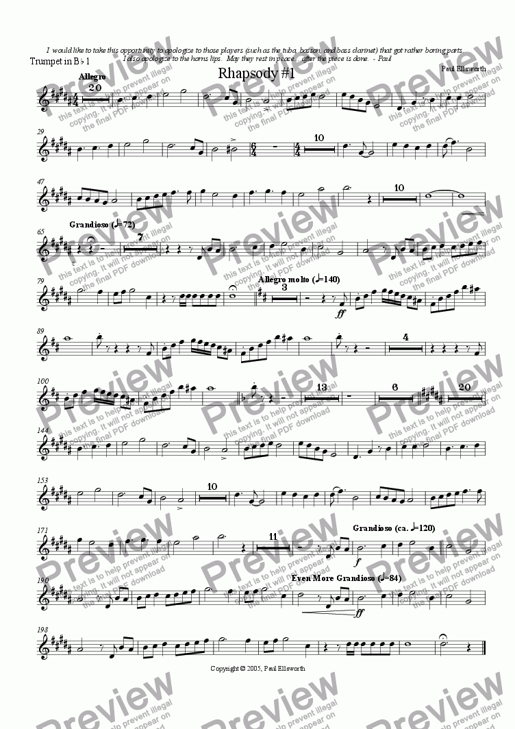 page one of the Trumpet 1 part from Rhapsody for Winds