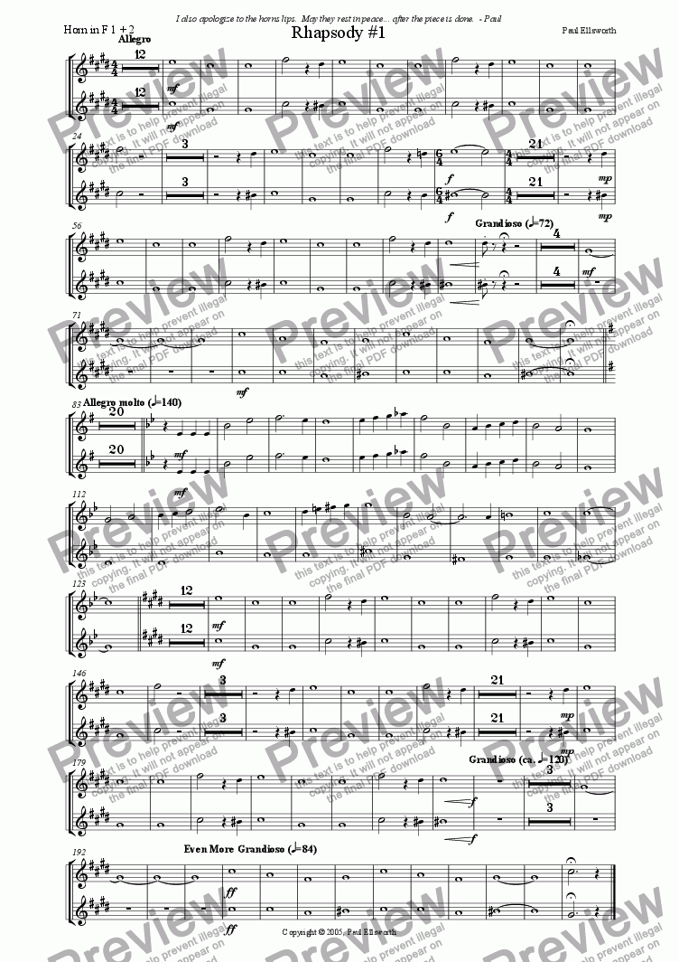 page one of the Horn 1 & 2 part from Rhapsody for Winds