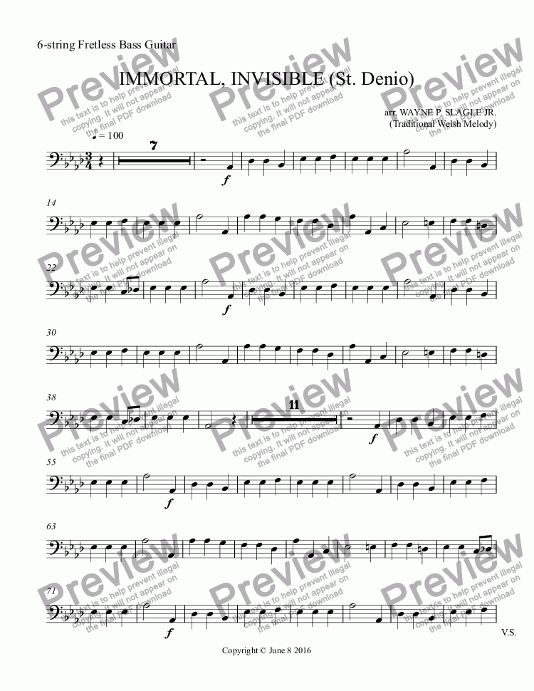 page one of the 6-string Fretless Bass Guitar part from IMMORTAL, INVISIBLE (St. Denio)
