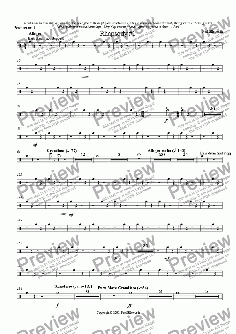 page one of the Percussion 1 part from Rhapsody for Winds