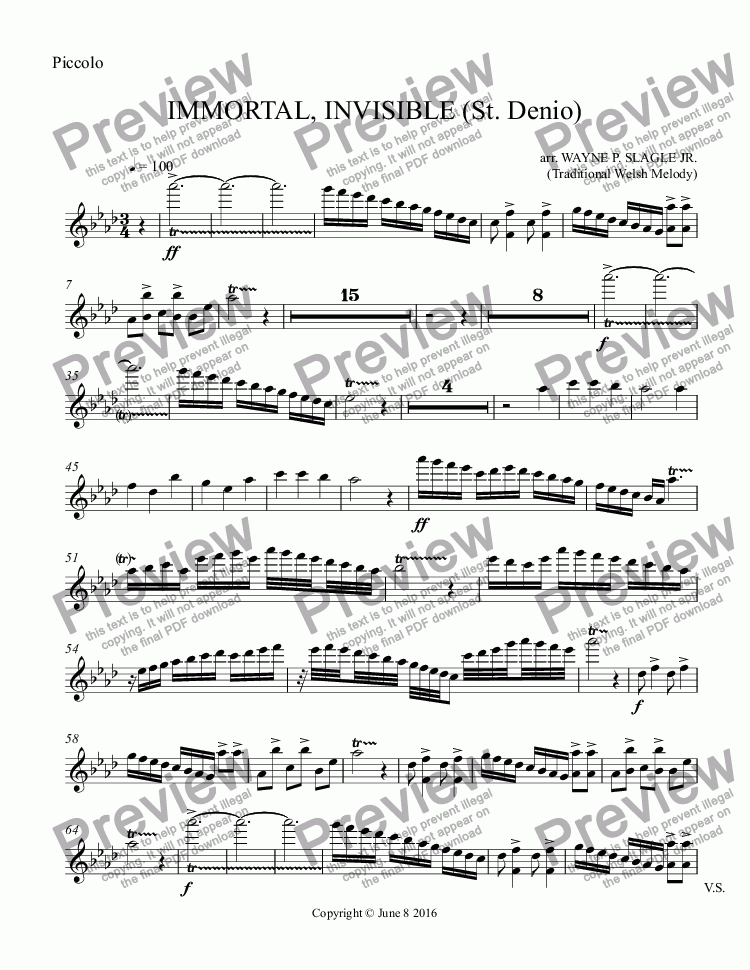page one of the Piccolo part from IMMORTAL, INVISIBLE (St. Denio)