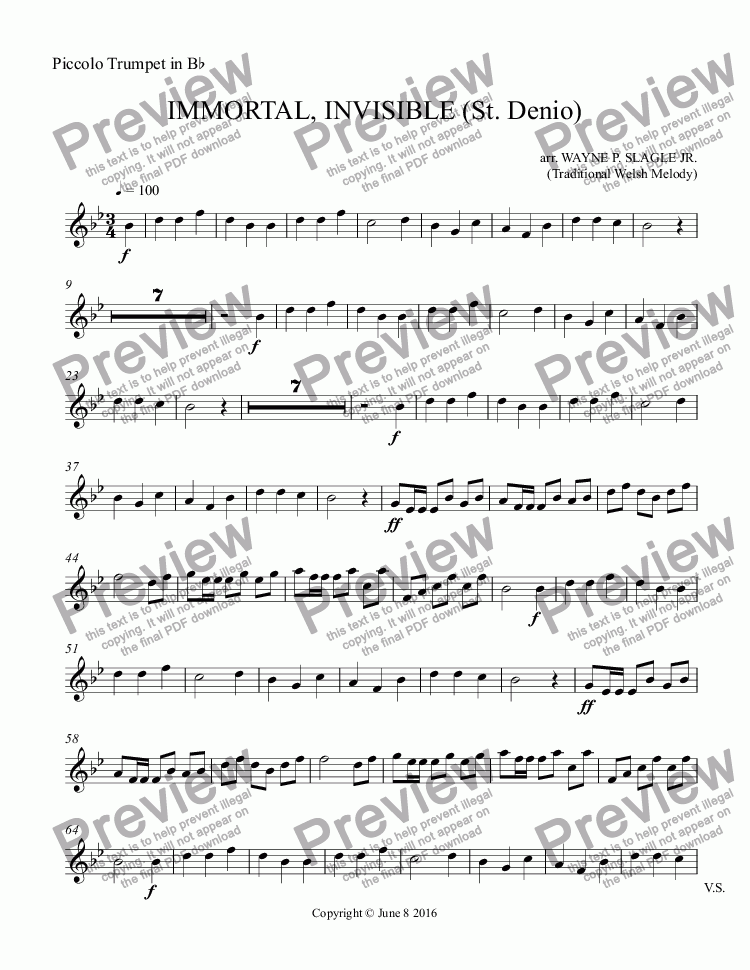 page one of the Piccolo Trumpet in B^b part from IMMORTAL, INVISIBLE (St. Denio)