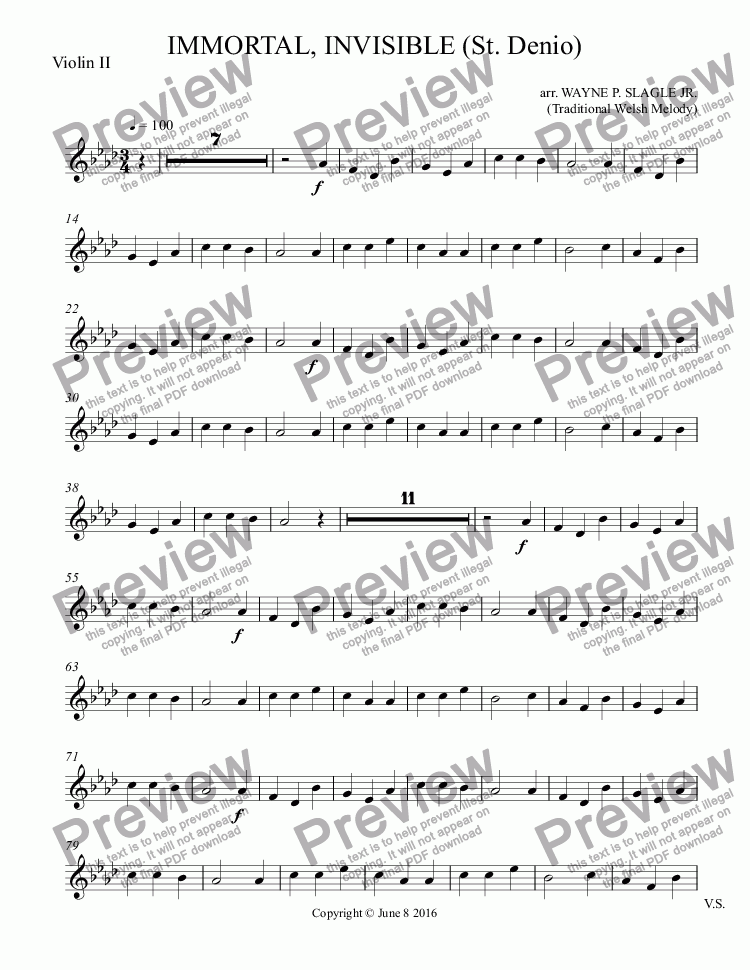page one of the Violin II part from IMMORTAL, INVISIBLE (St. Denio)