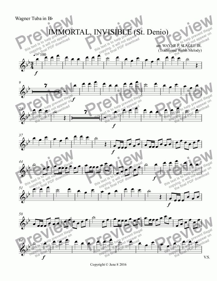 page one of the Wagner Tuba in B^b part from IMMORTAL, INVISIBLE (St. Denio)