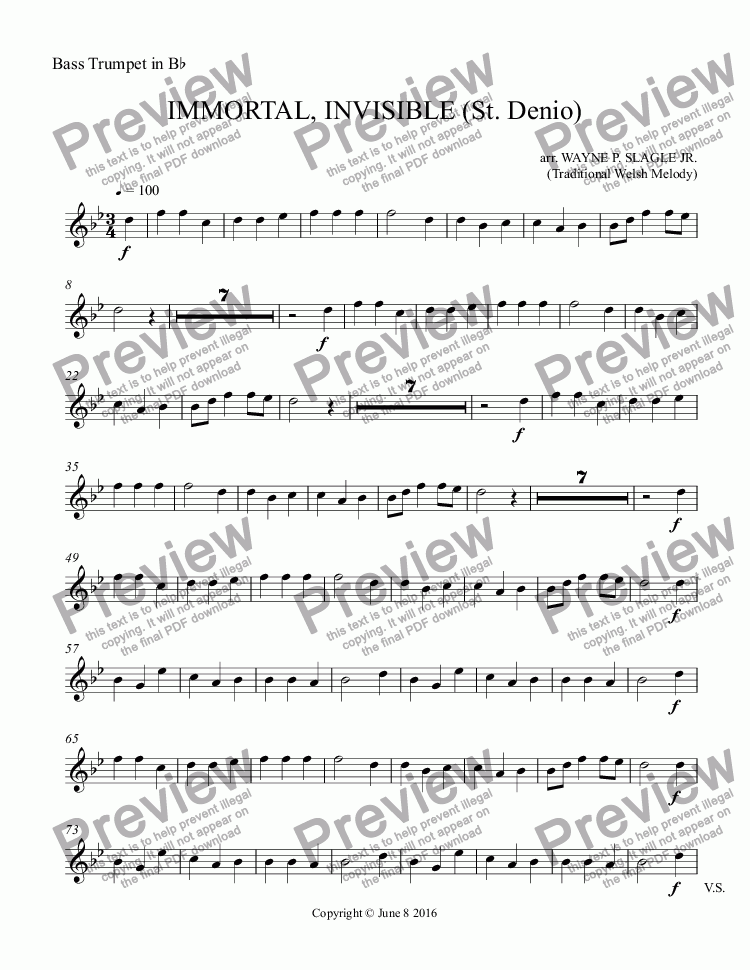 page one of the Bass Trumpet in B^b part from IMMORTAL, INVISIBLE (St. Denio)