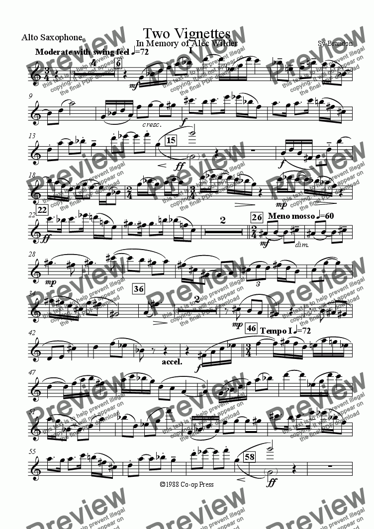 page one of the Alto Saxophone part from Two Vignettes for Sax Quartet