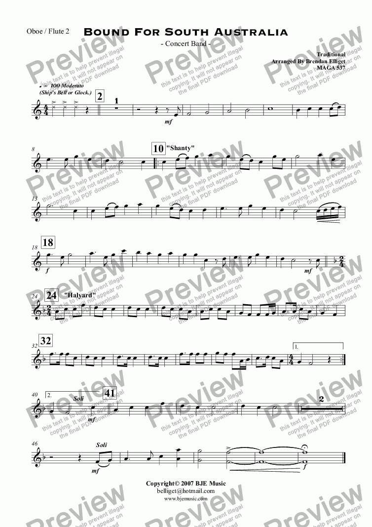 page one of the Oboe / Flute 2 part from Bound For South Australia - Concert Band