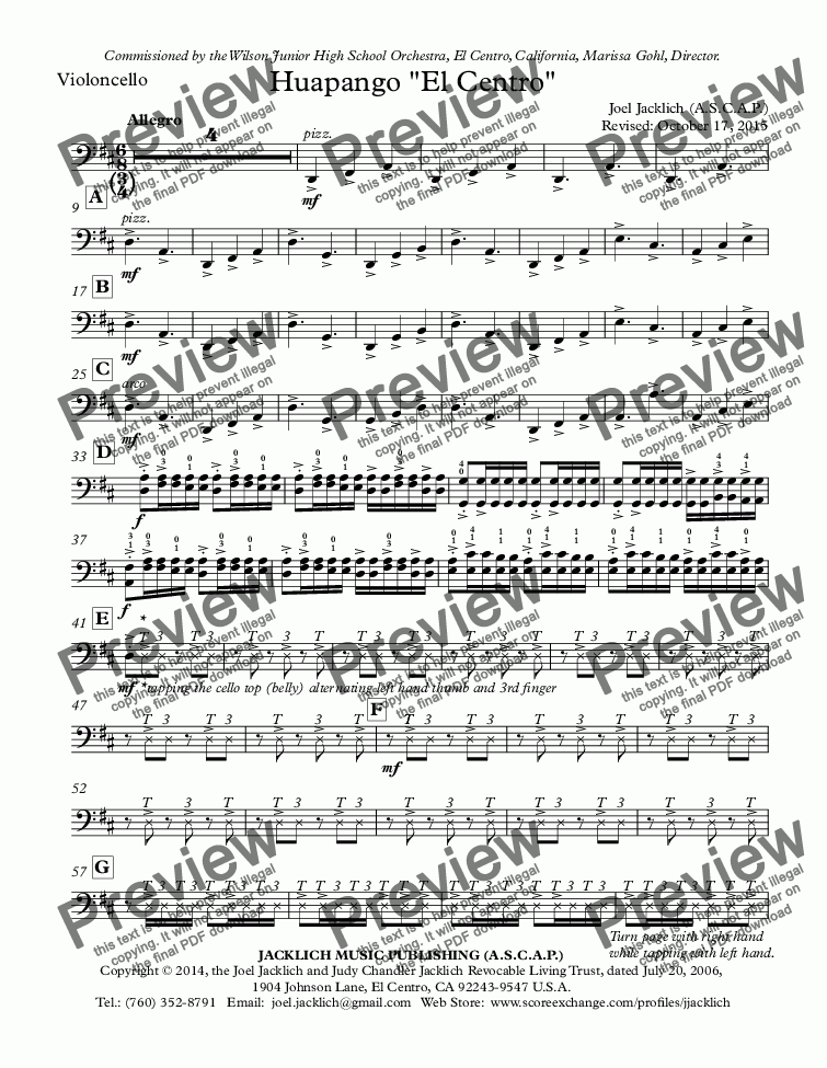 "page one of the Violoncello part from Huapango ""El Centro"" (String Orchestra)"