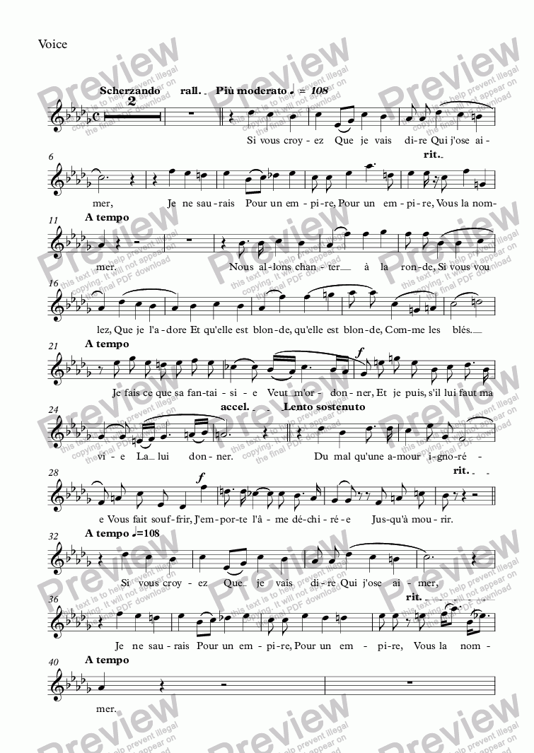 page one of the Voice part from Chanson de Fortunio (Auguste Guéroult / Musset)