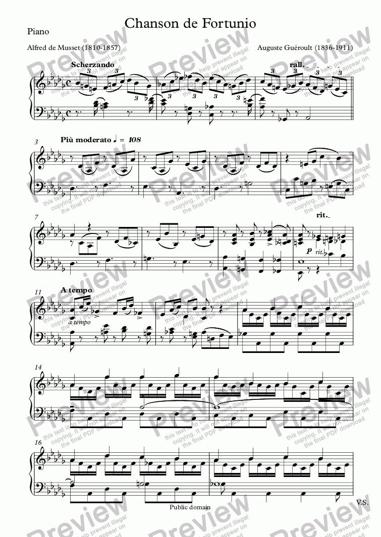 page one of the Piano part from Chanson de Fortunio (Auguste Guéroult / Musset)