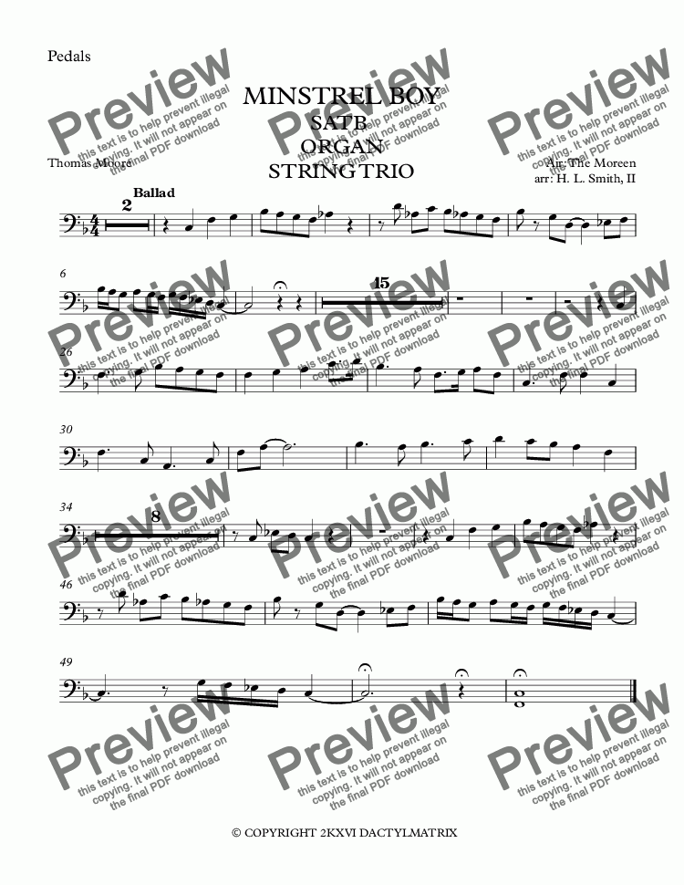 page one of the Pedals part from MINSTREL BOY - SATB  ORGAN STRING TRIO