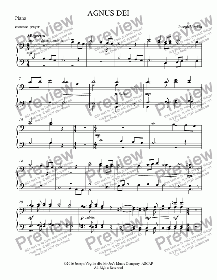 page one of the Piano part from :064 Opus: AGNUS DEI