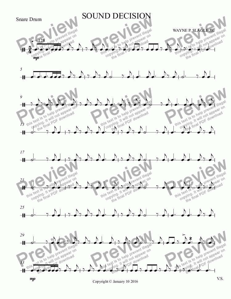 page one of the Snare Drum part from SOUND DECISION