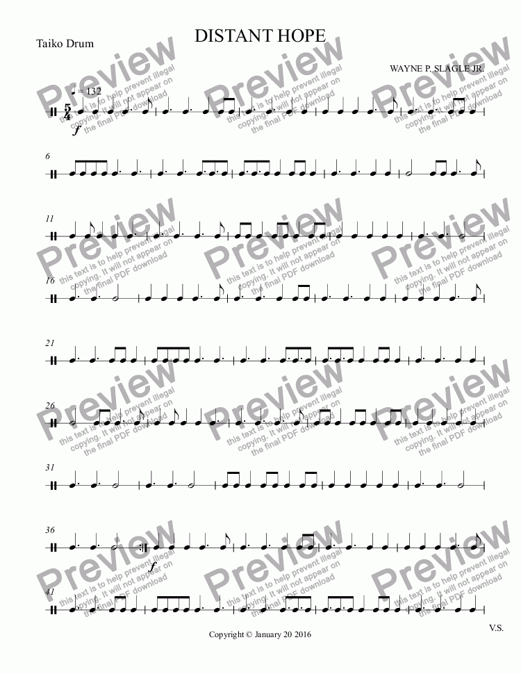 page one of the Taiko Drum part from DISTANT HOPE